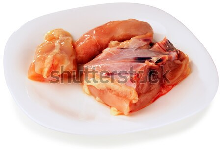 Fresh filleted chicken on plate Stock photo © vtls