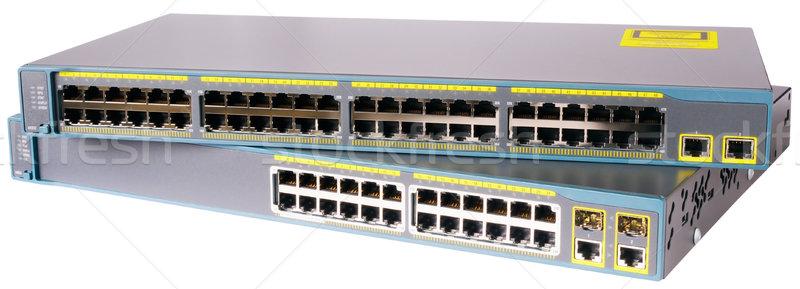 Sieci dwa szybko Ethernet odizolowany biały Zdjęcia stock © vtls