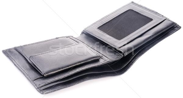 Boş deri cüzdan açmak siyah beyaz Stok fotoğraf © vtls
