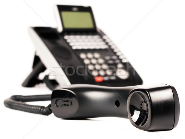 ストックフォト: オフィス · デジタル · 電話 · 黒 · セット · 選択フォーカス