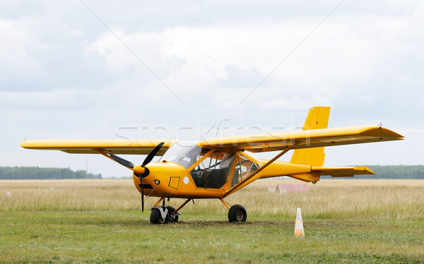 Vliegtuig groen gras hemel wolk vliegtuigen Stockfoto © vtls