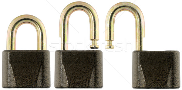 Metal padlock, locked and unlocked Stock photo © vtls