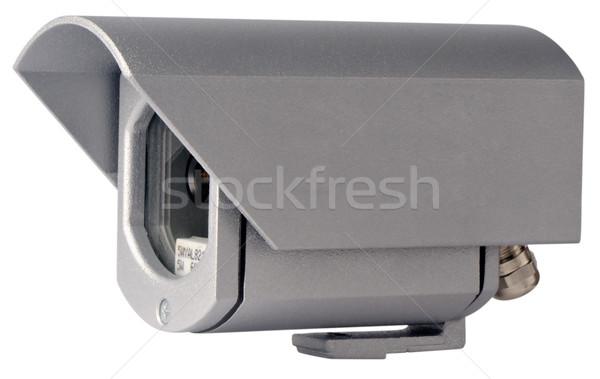 Gözetim video kamera Metal durum yalıtılmış beyaz Stok fotoğraf © vtls