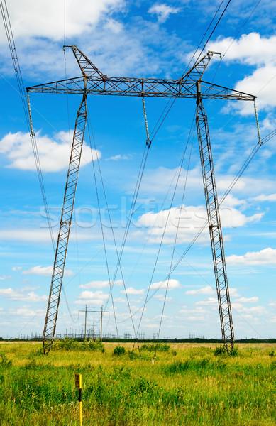 высокое напряжение линия электроэнергии зеленый области Сток-фото © vtls