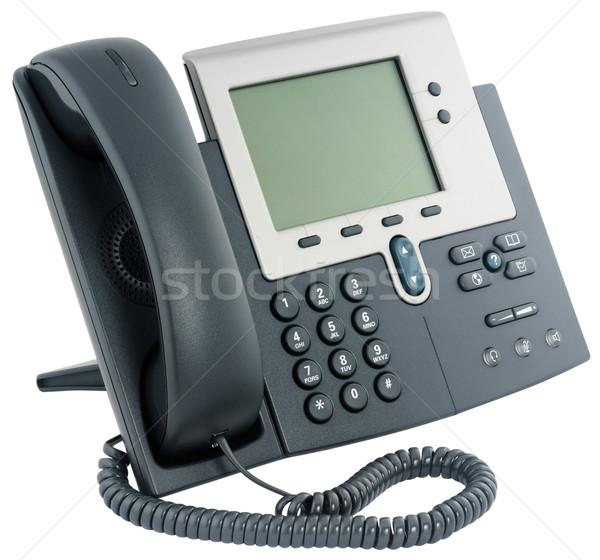 Stock fotó: Digitális · telefon · szett · iroda · izolált · fehér