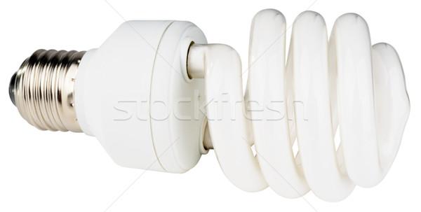 Fluoreszkáló villanykörte fehér energia takarékosság izolált Stock fotó © vtls