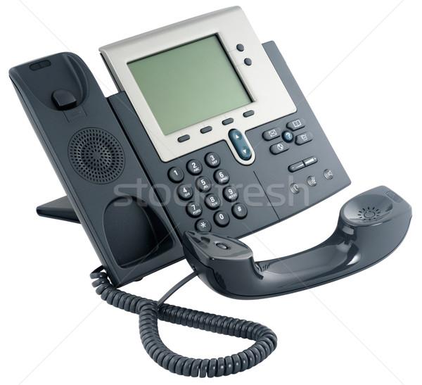 Stockfoto: Kantoor · digitale · telefoon · ingesteld · geïsoleerd · witte