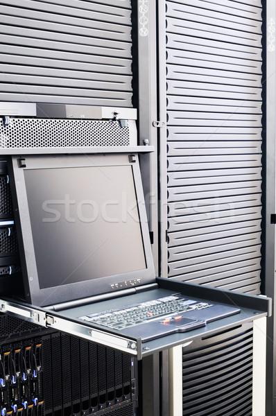 Szerver rack konzol fogas penge szerverek billentyűzet Stock fotó © vtls