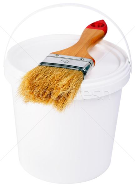 Verf pot borstel geïsoleerd witte Stockfoto © vtls
