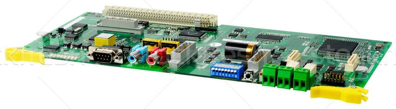 ストックフォト: 回路基板 · 電話 · スイッチ · 孤立した · 白 · 緑