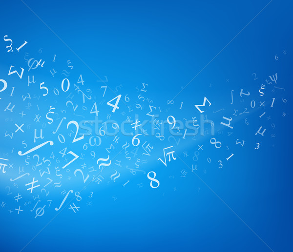 Stockfoto: Nummers · vector · Blauw · studenten · leraar · wetenschap