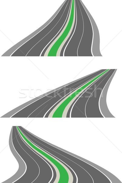 Stockfoto: Vector · perspectief · wegen · weg · achtergrond · reizen