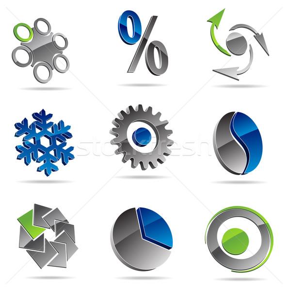 Zestaw streszczenie ikona fali narzędzi Zdjęcia stock © vtorous