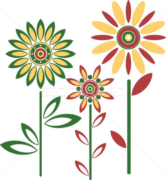 Abstract vector bloemen voorjaar hand zon Stockfoto © vtorous