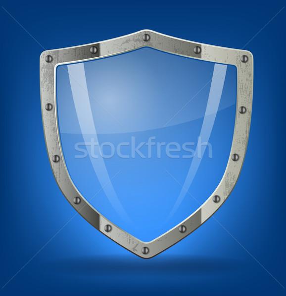 Escudo ícone símbolo ilustração metal assinar Foto stock © vtorous