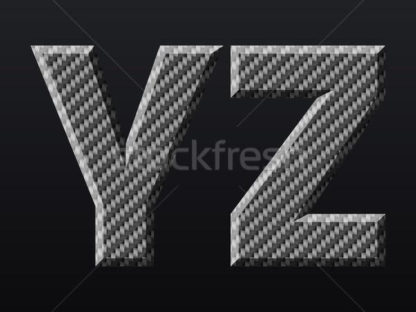 Koolstof brieven koolstofvezel bouw ontwerp metaal Stockfoto © vtorous
