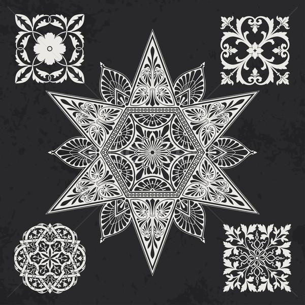 Projeto elementos floral geometria silhueta planta Foto stock © vtorous