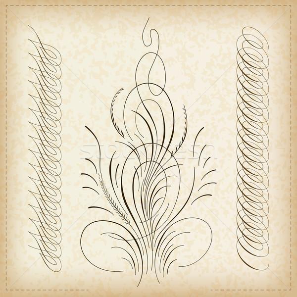 Schriftkunst Rahmen dekorativ Kunst Muster Grafik Stock foto © vtorous