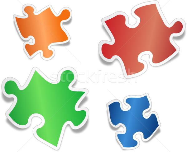 Brillant vu pièces de puzzle vert groupe puzzle Photo stock © vtorous