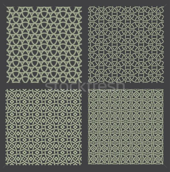 Sem costura vetor preto papel de parede branco Foto stock © vtorous
