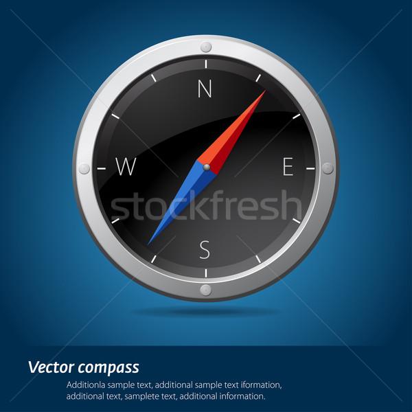 Preto bússola viajar objeto círculo reflexão Foto stock © vtorous