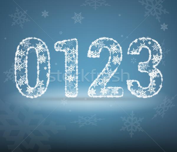 Hó levél számok absztrakt fény felirat Stock fotó © vtorous