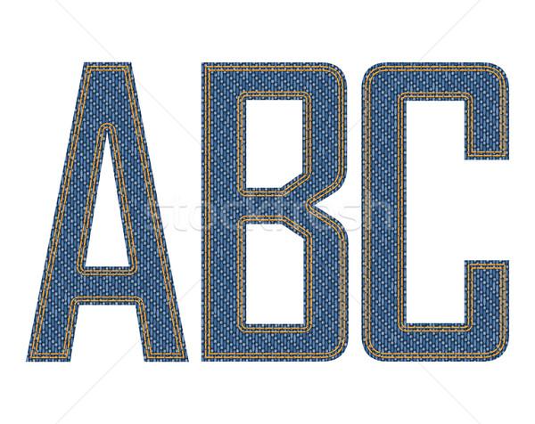 Kot harfler kumaş doku mavi bağbozumu Stok fotoğraf © vtorous