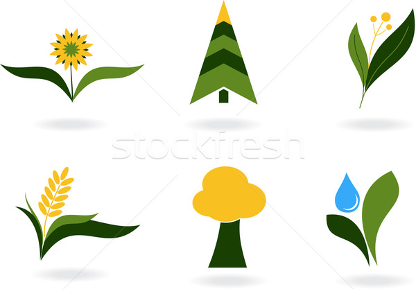 Planta ícones abstrato folha verde gráficos árvore Foto stock © vtorous