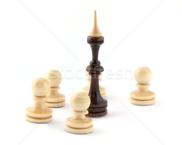 Ajedrez juego aislado blanco madera éxito Foto stock © vtorous