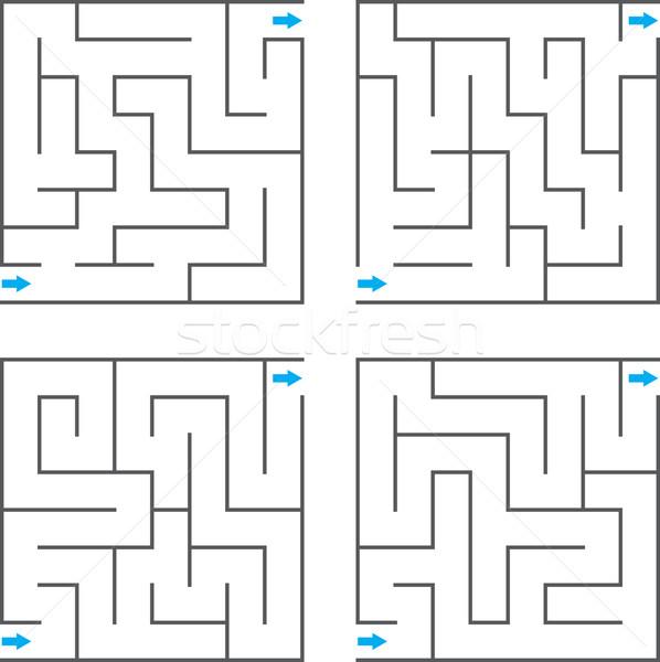 Vektor labirintus szett terv háttér művészet Stock fotó © vtorous