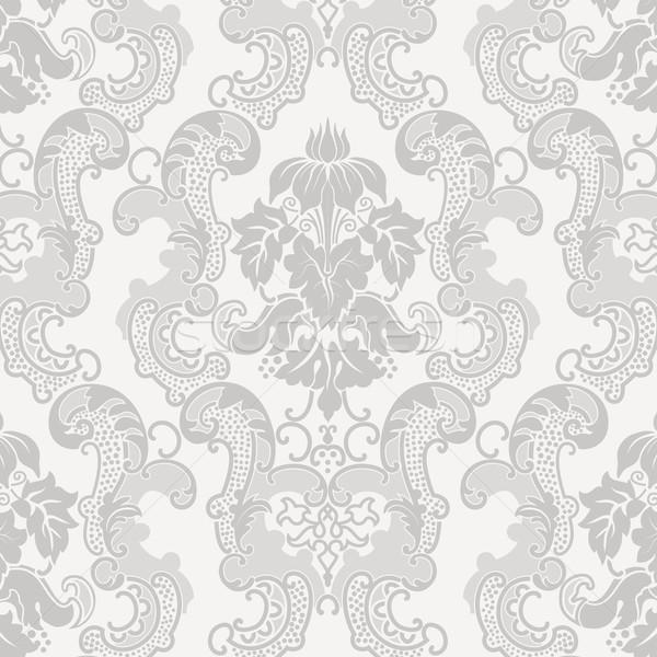 Kwiatowy adamaszek wzór wektora zaproszenie na ślub tekstury Zdjęcia stock © vtorous