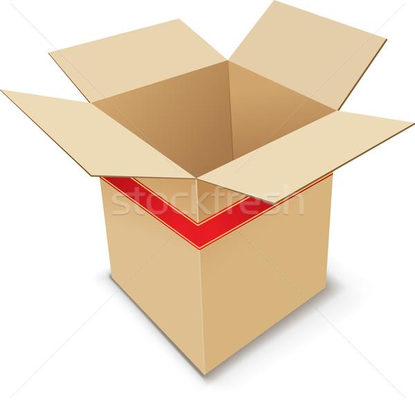 Foto stock: Vermelho · armazém · fita · pacote · recipiente
