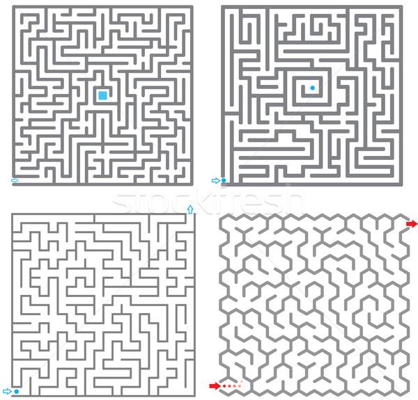 Klein ingesteld labyrint ontwerp kunst patroon Stockfoto © vtorous