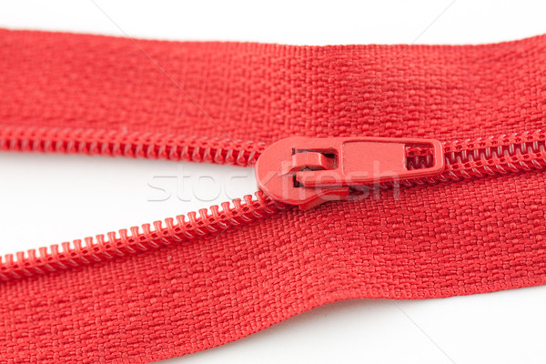 Abrir vermelho zíper branco tecido mostrar Foto stock © vtorous