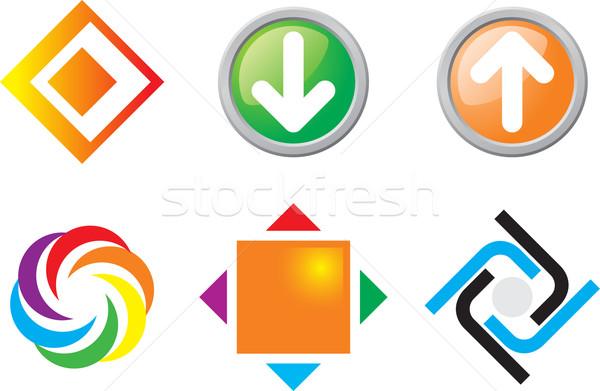 Abstrato ícones laranja teia quebra-cabeça Foto stock © vtorous
