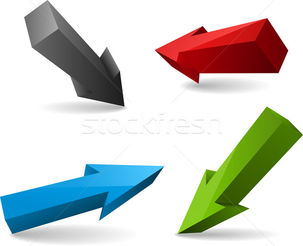 Vetor quatro assinar verde azul Foto stock © vtorous
