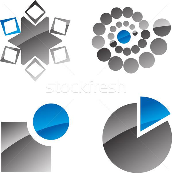 Streszczenie cztery ikona niebieski fali Zdjęcia stock © vtorous