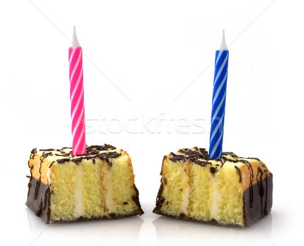Pequeno bolos vela dois comida luz Foto stock © vtorous