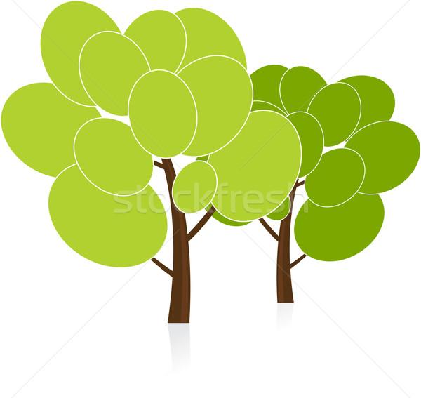 Vetor árvores primavera maçã verão assinar Foto stock © vtorous