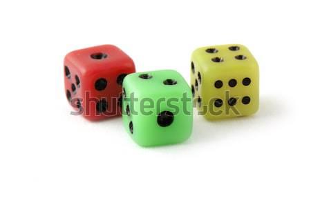 Szín kockák számítógépes játékok izolált fehér kaszinó Stock fotó © vtorous