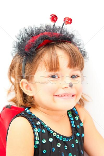 Gyermek aranyos katicabogár jelmez buli mosoly Stock fotó © vtupinamba