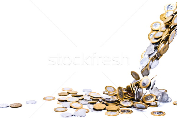 Monedas caída dinero blanco banco piso Foto stock © vtupinamba
