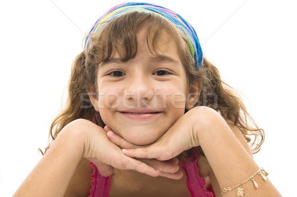Nino cute sonriendo retrato blanco feliz Foto stock © vtupinamba