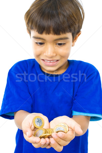 Dinero manos muchos monedas mano Foto stock © vtupinamba