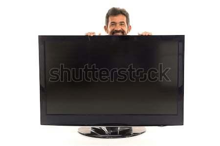Hombre tv oculto detrás blanco sonrisa Foto stock © vtupinamba