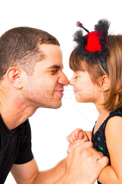 Padre hija jugando nariz amor ojos Foto stock © vtupinamba