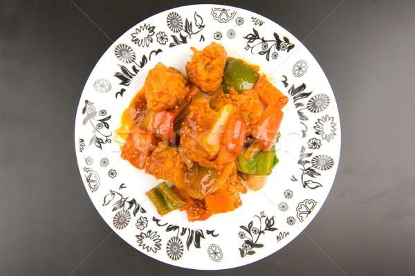Kínai étel finom disznóhús hús mártás vacsora Stock fotó © vtupinamba