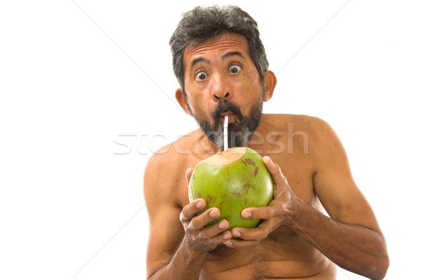 Ital kókusz víz férfi iszik fehér Stock fotó © vtupinamba