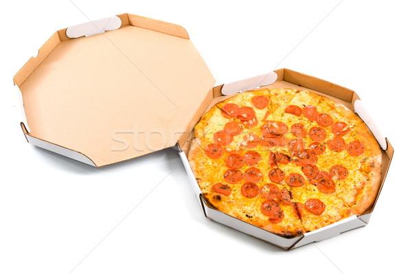 Pizza delicioso entrega cuadro blanco alimentos Foto stock © vtupinamba