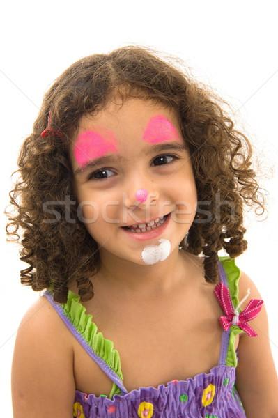 Feliz nino nina pintado cara ojos Foto stock © vtupinamba
